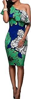 PRETTYGARDEN Women's One Off Shoulder Floral Printed Ruffle Chest Bodycon Midi Dress