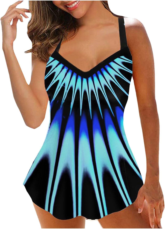 LAOTANG Womens Plus Size Print Strappy Back Tankini Set Two Piece Swimsuits Swimdress 2XL