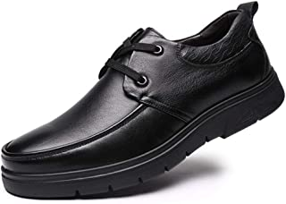 Bin Zhang Casual Oxfords for Men Retro Dress Shoes Lace up Genuine Leather Round Toe Wear-Resisting Flat Heel Rubber Sole Embossed Black (Color : Black, Size : 7 UK)