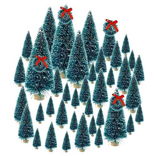 Onestmi Artificial Mini Christmas Trees,Christmas Mini Table Tree,Mini Sisal Snow Frost Trees Bottle Brush Trees Mini Christmas Tree Pine Tree for DIY Room Decor Home Table Top Decoration
