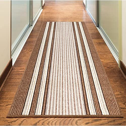 Rugs Superstore NEW BEIGE CREAM BROWN COLORFUL MODERN WASHABLE NON SLIP KITCHEN UTILITY HALL LONG RUNNER