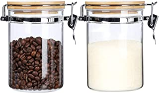 Clear Borosilicate Glass Storage Canisters Jars with Airtight Locking Clamp Bamboo Lids ,Air Tight Food Storage Containers For Kitchen,Sugar Loose Tea Coffee Beans Cookies Jars,27 Floz 2-Piece Set