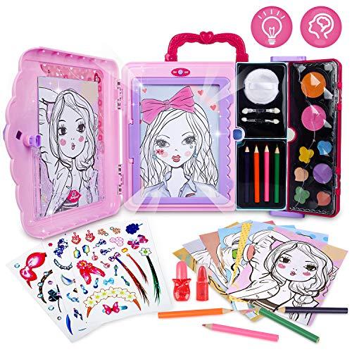 Kreativset Mädchen,Licht Zeichentafel Malset für Kinder Zeichenspiel Spielzeug Lernspiele ab Mädchen