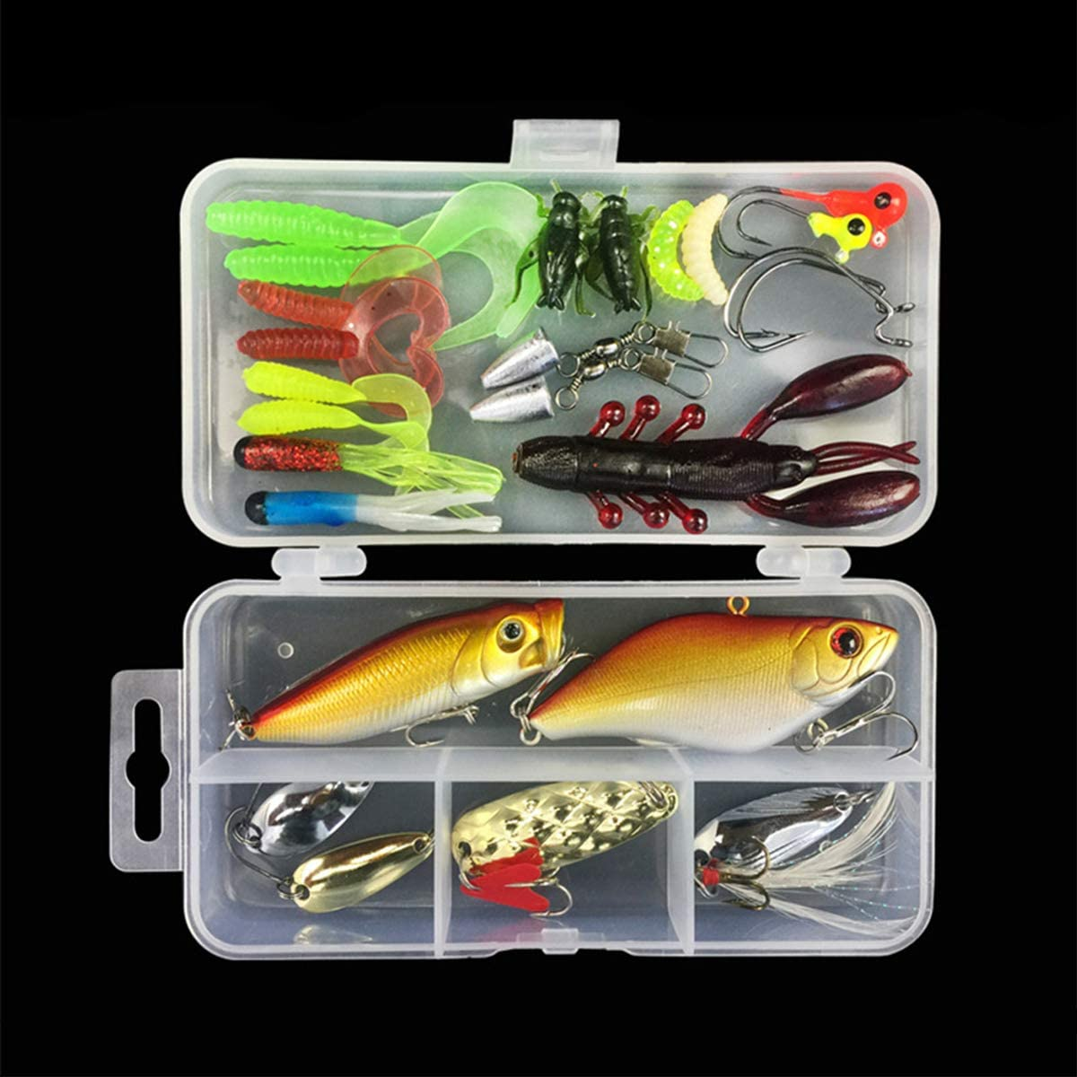 MKNZOME Mixed Fishing Lures Set Hard Bait Lifelike Sinking Swimbait Lure Fishing Spoon Spinner Lure Minnow VIB Lure with Treble Hook Popper Crankbait for Trout Walleye Carp Trout Pike