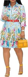 VERWIN Lapel Three-Quarter Sleeve Knee Length Pleated Floral Women's Sheath Dress