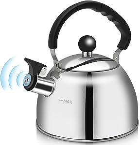Stainless Steel Whistling Tea Kettle, 2-Quart Stove Top Whistling Tea pot, Food Grade Teakettles Loud Whistle and Anti-Rust