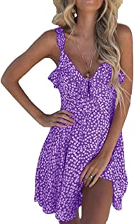 10a3595e390d GRMO Women V Neck Summer Spaghetti Strap Split Flower Print Sexy Beach  Party Midi Dress