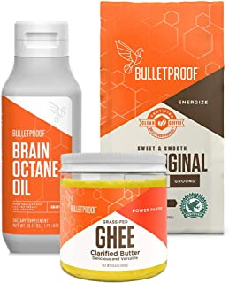 Bulletproof Original Coffee & Brain Octane MCT Oil + Ghee Bundle - Perfect for Keto and Paleo Diet, 100% Non-GMO Gourmet Organic Beans, Responsibly Sourced Premium C8 Oil (Ground Kit + Ghee)