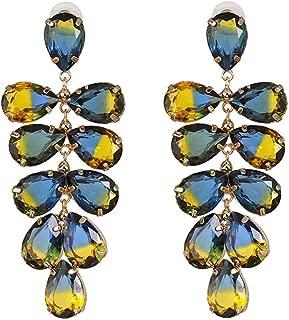 Metal leaf and crystal earrings,Colored gem earrings,Simple Women's Stud Earrings,Blue
