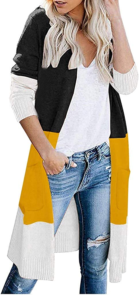 TOTOD Women Knitted Cardigan Long Sleeve Color Striped Sweater Pocket Casual Knits Outerwear