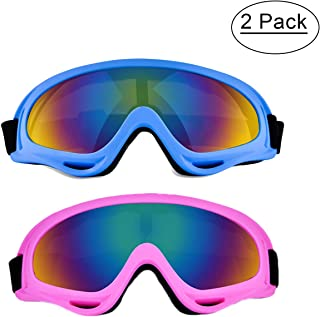 BaKee Ski Goggles Set, Snowboard Goggles for Kids Boys Girls Youth Men Women, with 100% UV400 Protection, Wind Resistance, Anti-Glare Lens (Include Cleaning Cloth)