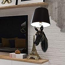 WSW Light Luxury Fashion Simple and Stylish Black Horse Wall Lamp LED Wall Lamp Aisle Corridor Creative Animal Animal Head...