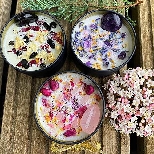 Candles with Crystals Amethyst Rose Quartz Obsidian Lavender Rose Jasmine Handmade in England by Lia Chahla (Set of Three)