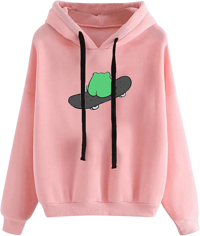 UOCUFY Hoodies for Women, Womens Comfy Hoodie Cute Sweatshirts Skateboarding Frog Casual Long Sleeve Pullover Tops