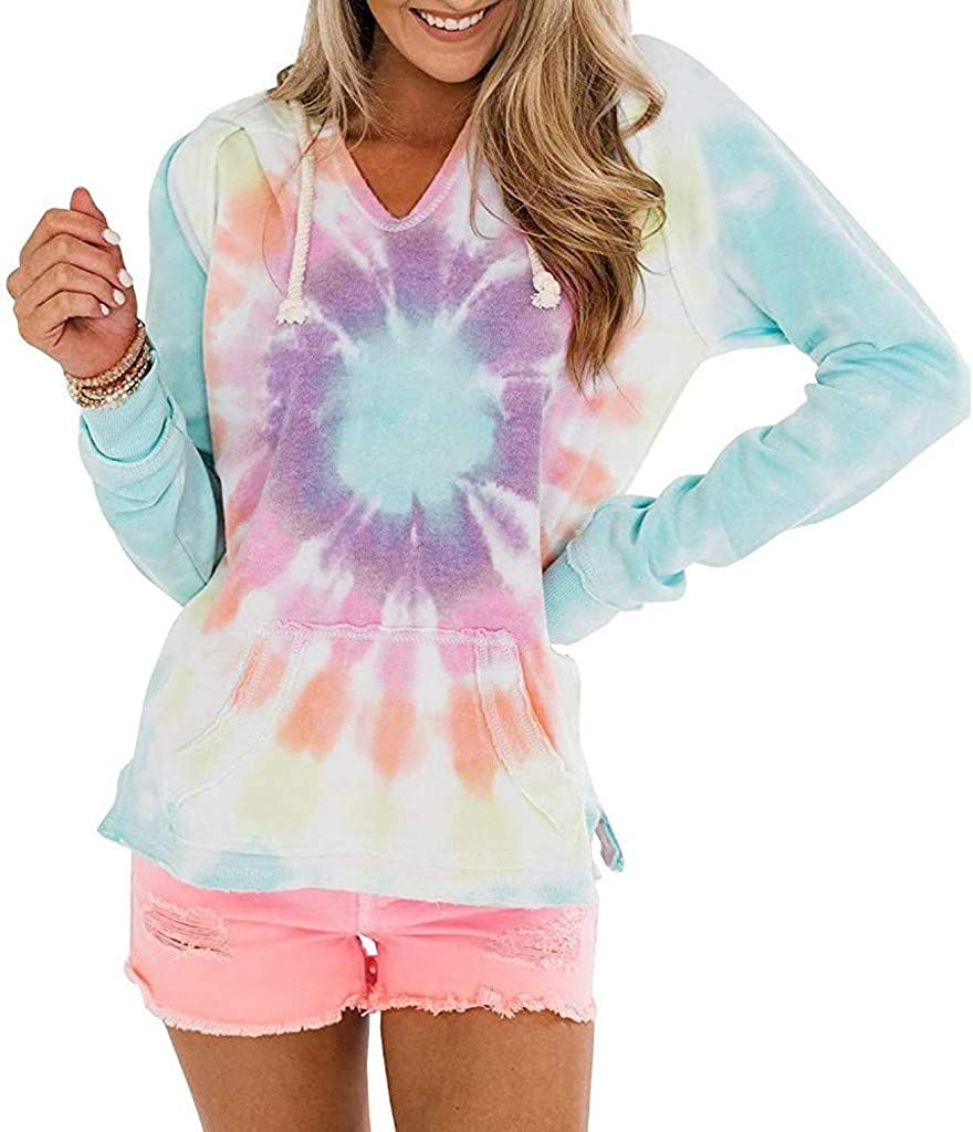Women Color Block Tie Dye Printed Casual Long Sleeves Hooded V-Neck Hooded Drawstring Pullover Blouse Tops Sweatshirts