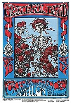 Buyartforless Grateful Dead - Skeleton & Roses Family Dog 36x24 Art Print Poster Oxford Circus Avalon Ballroom
