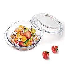WONDERCHEF Diva Borosilicate Glass Round Casserole Set 1000ML