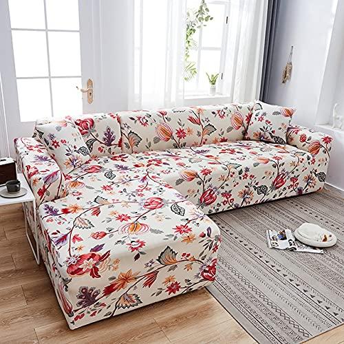 uyeoco Funda de sofá de Sala de Estar Chaise Longue, en Forma de L Necesita Comprar 2 Juegos, Funda de sofá elástica Funda de sofá de Esquina en Forma de L (Color : M, Size : 4 plazas (235-300cm))