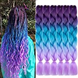 SHUOHAN 6 Packs Purple Ombre Jumbo Braiding Hair Extensions 24 Inch High Temperature Synthetic Fiber Hair Extensions for Braiding (Purple to Lake Blue to Light Purple)