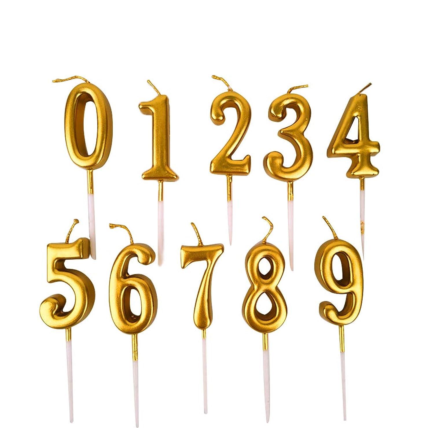 コンパス理論的象NUOBESTY 誕生日数字キャンドル、10ピース番号0-9グリッターケーキトッパー装飾用誕生日パーティーの好意