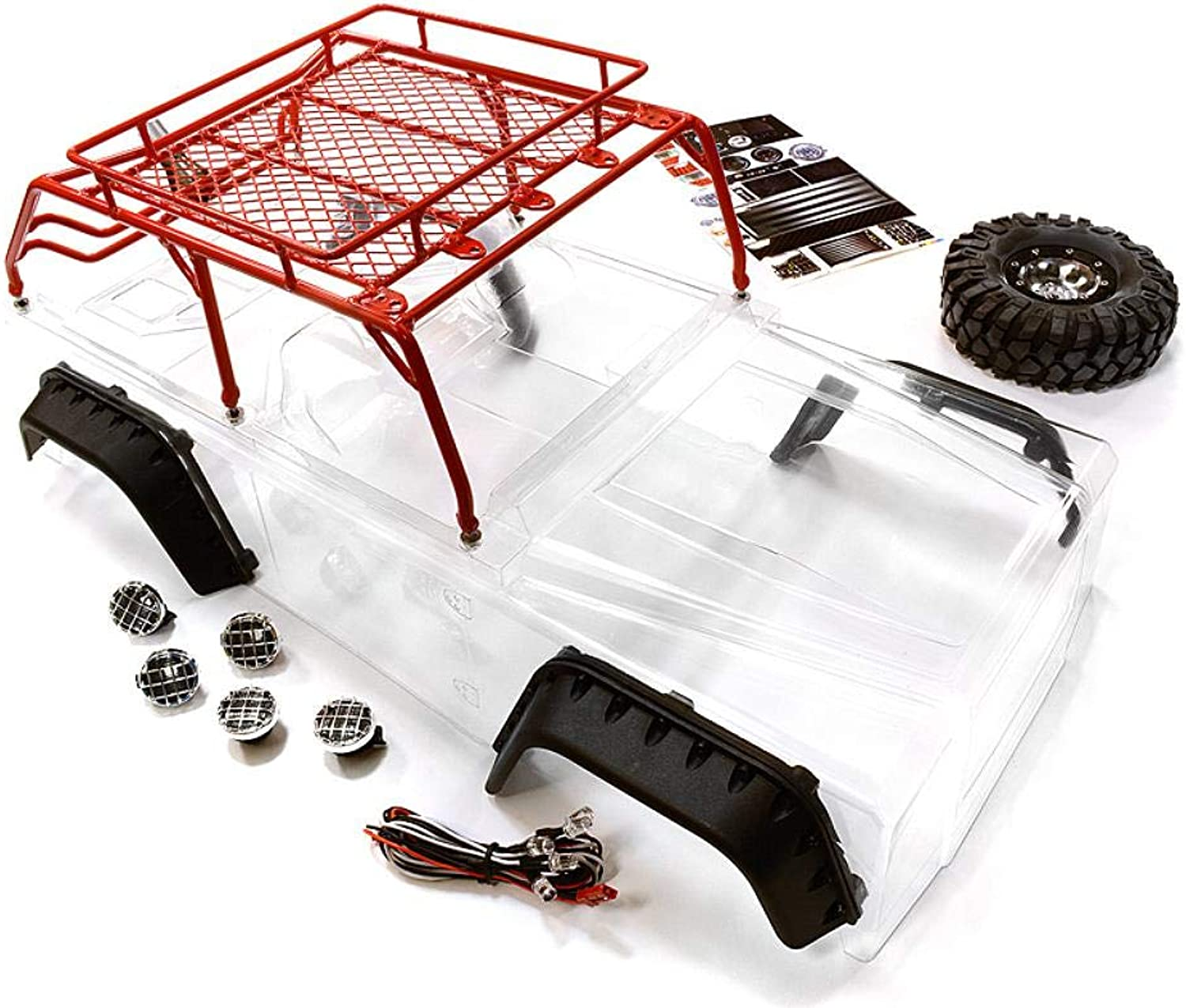 Integy RC modello Hop-ups C26623rosso Realistic JPX Scale corpo w Steel Roll Cage & LED Light for 1 10 Scale Crawler