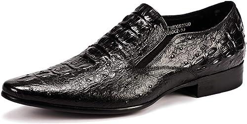 LYMYY zapatos de vestir para hombres de negocios Patrón de cocodrilo Piel en punta zapatos formales zapatos de boda sin cordones Mocasines de trabajo