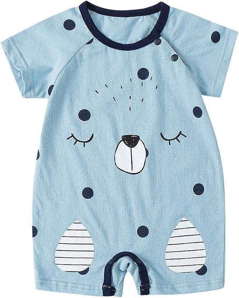 MomentDAY Summer Romper 0-2 Years Infant Toddler Newborn Baby Girl Boy Little Kids Short Sleeve Bear Print Jumpsuit Onesies