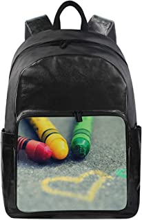 Women/Men Canvas Backpack Love Heart Rainbow CrayonTravel Laptop Shoulder Bag Computer Back Pack