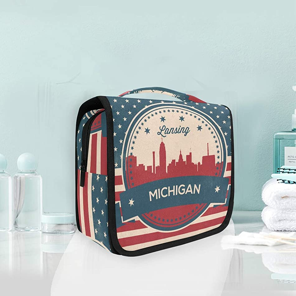 Michigan State Lansing Skyline Large Hanging Toiletry Bag Waterproof Cosmetic Bag Makeup Travel Pouch Purse Organizer Wash Gargle bag