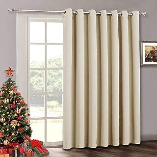 Sliding Door Curtain Window Drapes - Solid Room Darkening Light Block Extra Wide Panel, Outdoor Indoor Privacy Curtains for Living Room Bedroom Dining Patio Door, 100 x 84 inch, Biscotti Beige