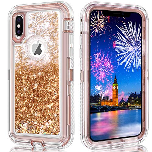 iPhone X Case,iPhone 10 Case,Wollony 360 Full Body Shockproof Liquid Glitter Quicksand Bling Case Heavy Duty Phone Bumper Soft Non-Slip Clear Rubber Protective Cover for Apple iPhone XS, X (Rose Gold)