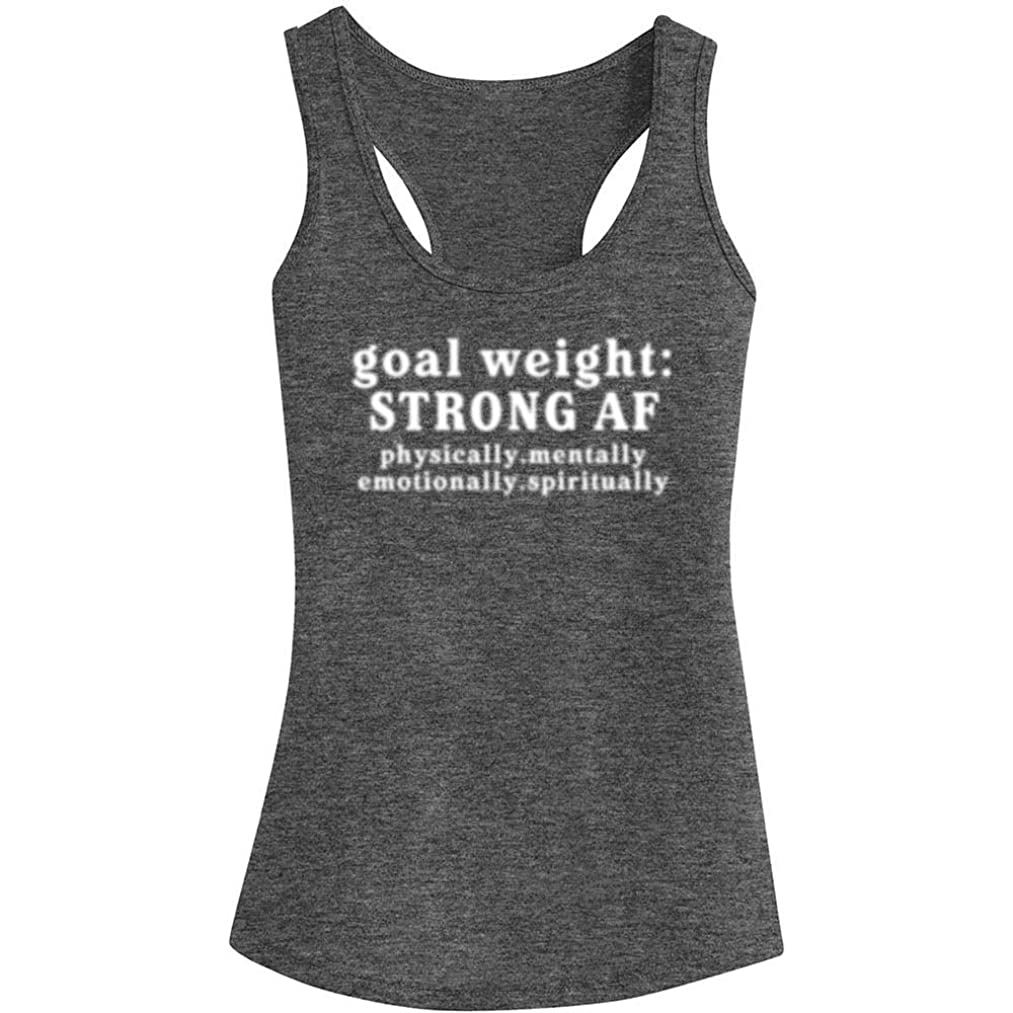 Fannoo Workout Tank Tops for Women-Goal Weight Womens Funny Saying Fitness Gym Racerback Sleeveless Shirts