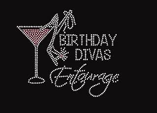 Birthday Divas Entourage with Martini Rhinestone Iron on Transfer