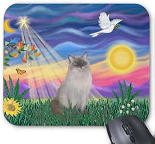 Gaming Mouse Pad Waterproof Mousepads with Non-Slip Rubber Base for Laptop Computer Desktop,10.2x8.3 inch, 3mm Thick-Ragdoll cat Blue Point Twilight