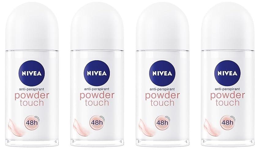 薄い切り下げ一晩(Pack of 4) Nivea Powder Touch Anti-perspirant Deodorant Roll On for Women 4x50ml - (4パック) ニベアパウダータッチ制汗剤デオドラントロールオン女性のための4x50ml