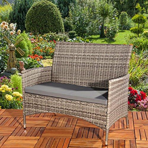 LD Poly rotan tuinbank in grijs + zitkussen zitbank rotan bank zitovertrek sofa