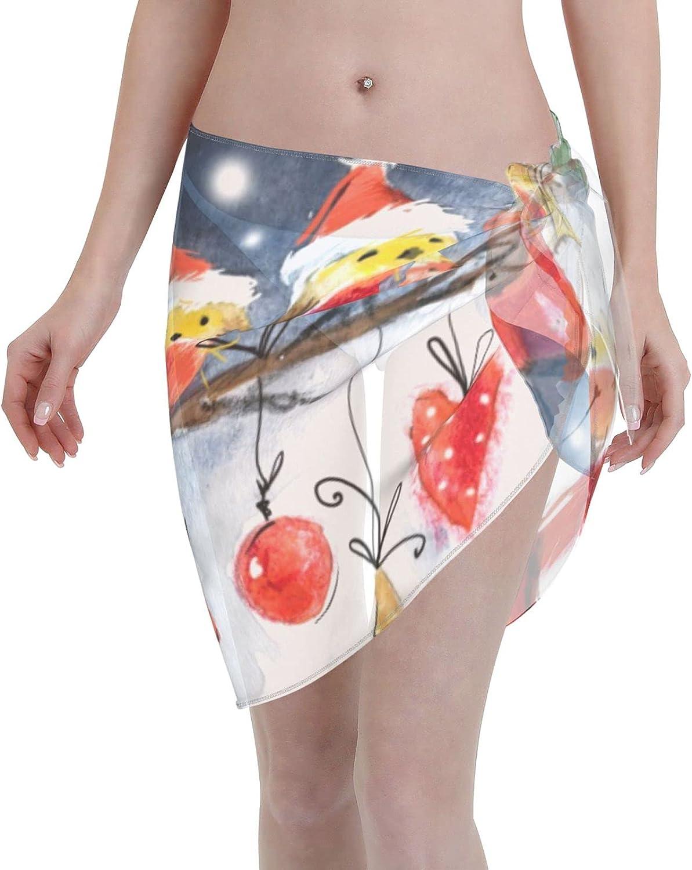 Women Short Sarongs Beach Wrap Cute Snowman Bikini Wraps Chiffon Cover Ups for Swimwear