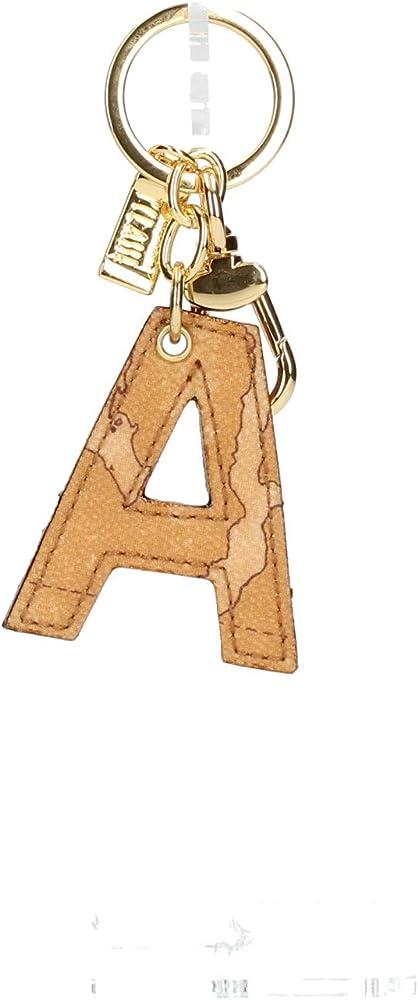 Alviero martini, portachiavi per donna in ecopelle, di colore naturale , con anelli in metallo color oro CP00A60000010