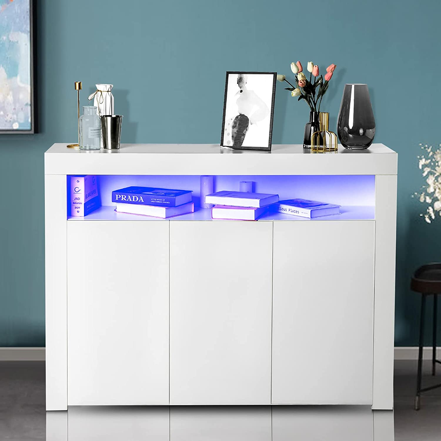 IKIFLY Quality inspection Modern High Gloss LED Max 78% OFF Storage Sideboard - Buffet Cabinet