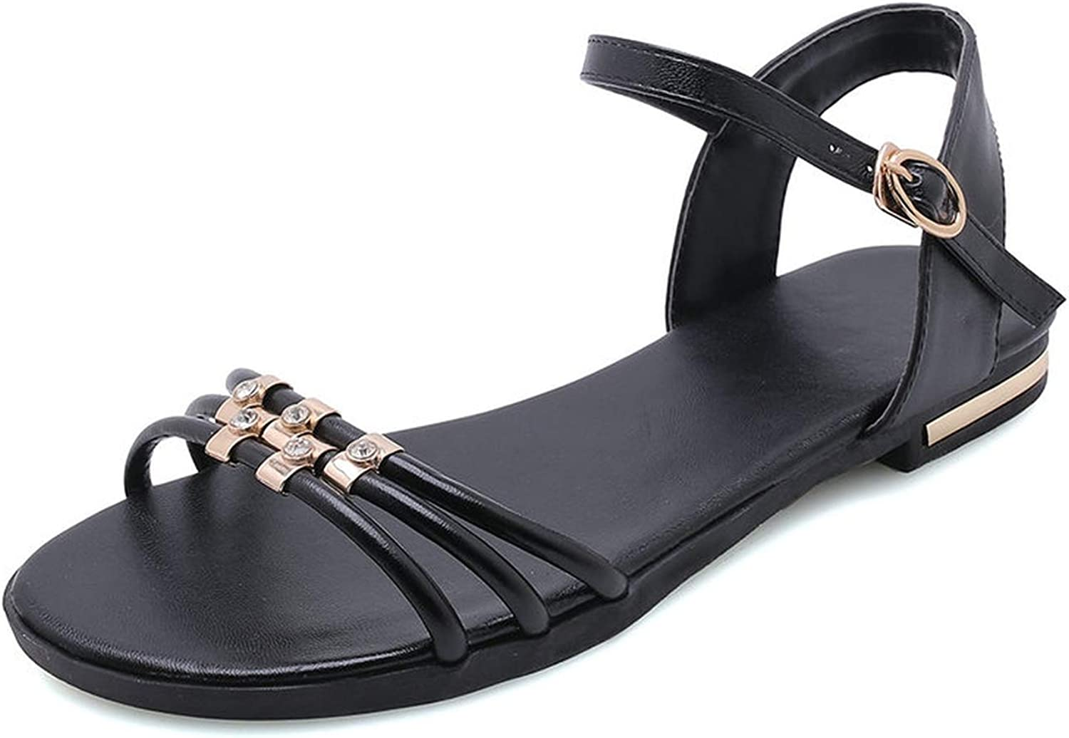 Women Sandals Flat Heel Cow Leather+Pu Round Open-Toed Metal Decoration Buckle shoes 34-43