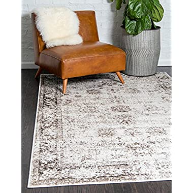 Unique Loom Sofia Collection Traditional Vintage Beige Home Décor Area Rug (5' x 8')