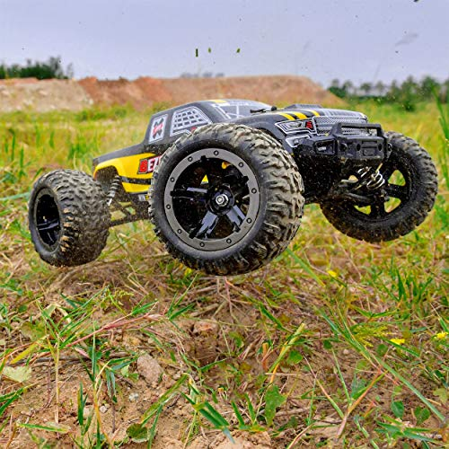 BEZGAR 1 Hobby Grade 1:10 Scale Remote Control Truck, 4WD High Speed 40+ kmh All Terrains Electric Toy Off Road RC Monster Vehicle Car Crawler with 2 Rechargeable Batteries for Boys Kids and Adults