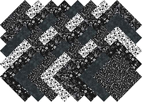 Black and White Quilting Fabric Fabric Blender Collection 40 Precut 5-inch Squares