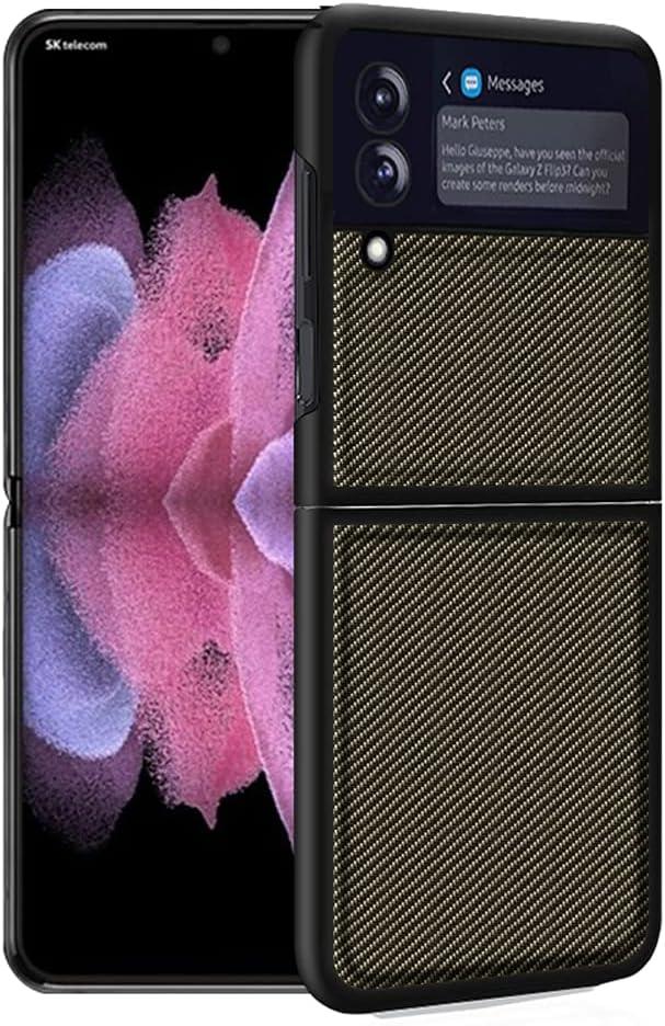 Futanwei Carbon Fiber Pattern Cases for Samsung Galaxy Z Flip 3 5G Case, Galaxy Z Flip3 5G Case, Carbon Fiber Pattern PU Leather Back Cover Ultra-Thin Case for Samsung Galaxy Z Flip3 5G, A - Gold