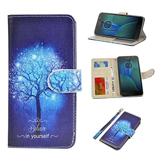 UrSpeedtekLive Moto G5S Plus Wallet Case, Premium PU Leather Wristlet Flip Case Cover with Card Slots & Stand Compatible Moto G5S Plus/ XT1806 (NOT for Moto G5 Plus), Believe in Yourself