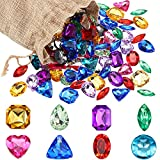 100 Pieces Pirate Treasure Jewels Bling Multicolor Diamonds Toy Gems with a Drawstring Bag for Party Table Decorations Pirate Party Favors