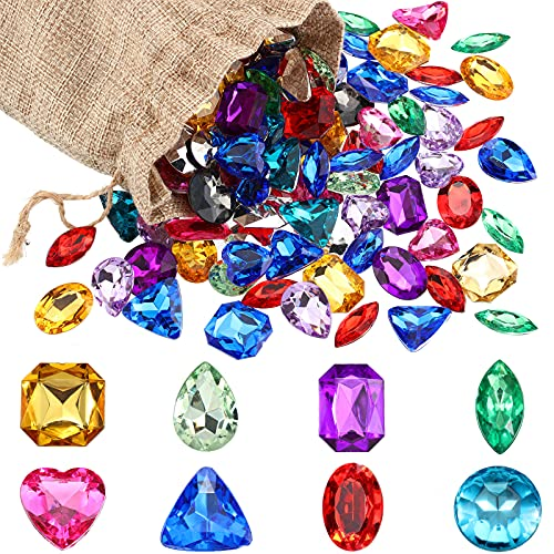 100 Pieces Pirate Treasure Jewels Bling Multicolor Diamonds Toy Gems with a Drawstring Bag for Party Table Decorations Pirate Party Favors (0.25 Ct Gems)