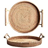 Rattan Round Serving Tray, Handcrafted Bread Serving Basket Platter with Wooden Handle (12.6 inch (32cm))
