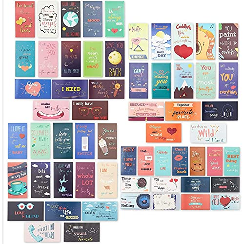 Romantic Lunch Box Love Notes for Husband, Wife, Adults, 60 Assorted Cards (2 x 3.5 inch)