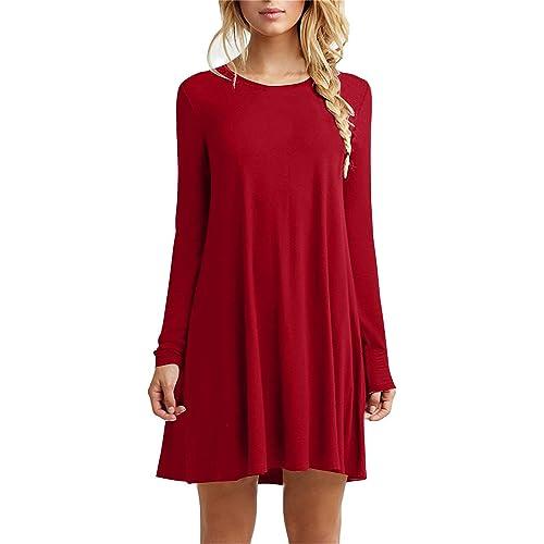 bcb27dfca41bc Bestisun Women's Fall Casual Long Sleeve Simple Loose Dress Shirt